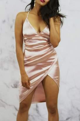Main Strip Silky Wrap Dress