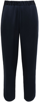 Joie Cropped Gathered Satin-crepe Wide-leg Pants