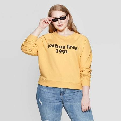 Grayson Threads Women's Joshua Tree Plus Size Long Sleeve Graphic Sweatshirt Juniors') - Yellow