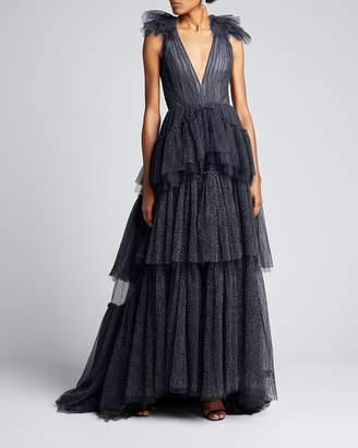 J. Mendel Dotted Tulle V-Neck Gown