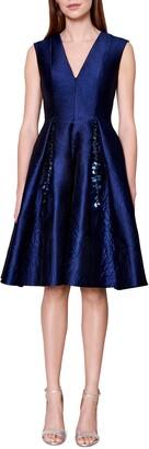 Talbot Runhof Licuala Grandis Sequin Detail Jacquard Fit & Flare Dress