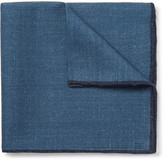 Drakes Drake's - Contrast-tipped Wool Pocket Square - Blue