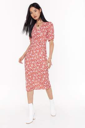 Nasty Gal Womens Puff Sleeve Midaxi Dress Floral Print - Red - 4, Red