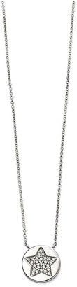 Sterling Silver Cubic Zirconia Pave Star Round Pendant Necklace