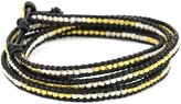 Chan Luu Gold Vermeil and Silver Bead Leather Wrap Bracelet