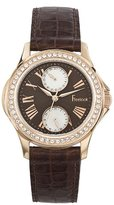 Freelook Women's HA1980RG-2 Rose Gold Plated Stainless Steel Round Case Brown Dial Leather Band Watch