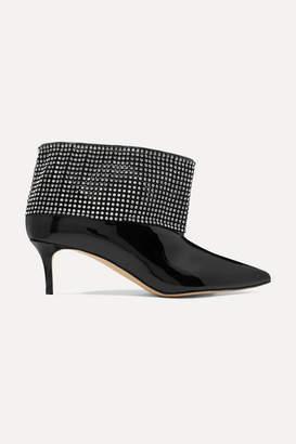Christopher Kane Crystal-embellished Patent-leather Ankle Boots - Black