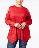 Style&Co. Style & Co Plus Size Cold-Shoulder Sparkle Swing Top, Only at Macy's