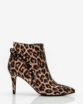 Le Château Leopard Print Velvet Ruffle Ankle Boot