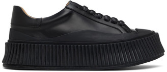 Jil Sander Black Leather Platform Sneakers