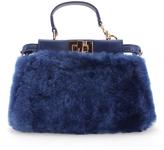 Fendi Blue Leather & Sheep Satchel