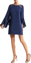 Halston Haltson Heritage Lace Shoulder Long Sleeve Cocktail Dress