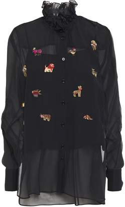 Carven Ruffled Embellished Silk-georgette Blouse