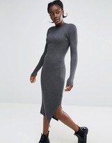 Monki High Neck Knitted Rib Dress