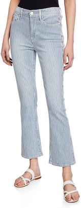 Frame Engineer Stripe Crop Mini Boot-Cut Jeans