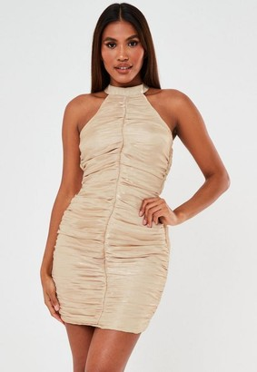 Missguided Champagne Ruched Halterneck Bodycon Mini Dress