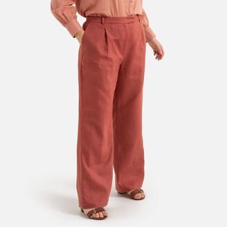 "Linen Wide Leg Trousers, Length 30.5"""