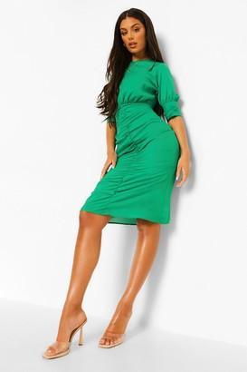 boohoo Ruched Puff Sleeve Midaxi Dress