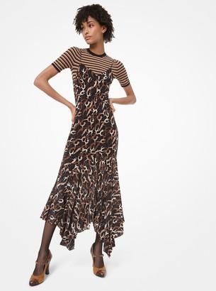 Michael Kors Dance-Print Crushed Silk Crepe De Chine Handkerchief Slip Dress