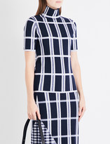 Victoria Beckham Checked high-neck wool-blend top