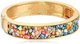 "Kenneth Cole New York Semiprecious Item"" Mixed Multi-Colored Sprinkle Shell Stone Hinged Bangle Bracelet"