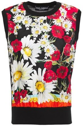 Dolce & Gabbana Floral-print Twill-paneled Silk And Cashmere-blend Top