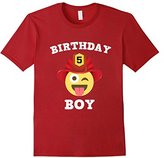 Kids Emoji 5th Birthday Boy Fireman T-Shirt Wink Out Shirt 12