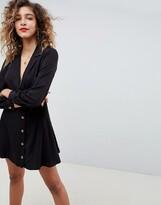 Asos Design DESIGN button through wrap mini dress with long sleeves