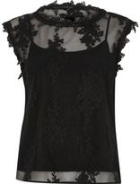 River Island Womens Black floral mesh lace sleeveless top
