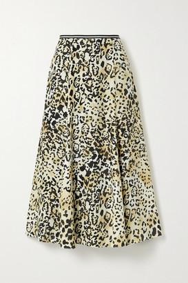 La Ligne Verushka Leopard-print Silk Crepe De Chine Midi Skirt - Leopard print