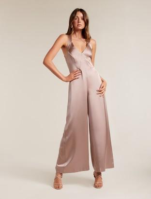 Forever New Tina Wide-Leg Satin Jumpsuit - Mauve Dust - 4