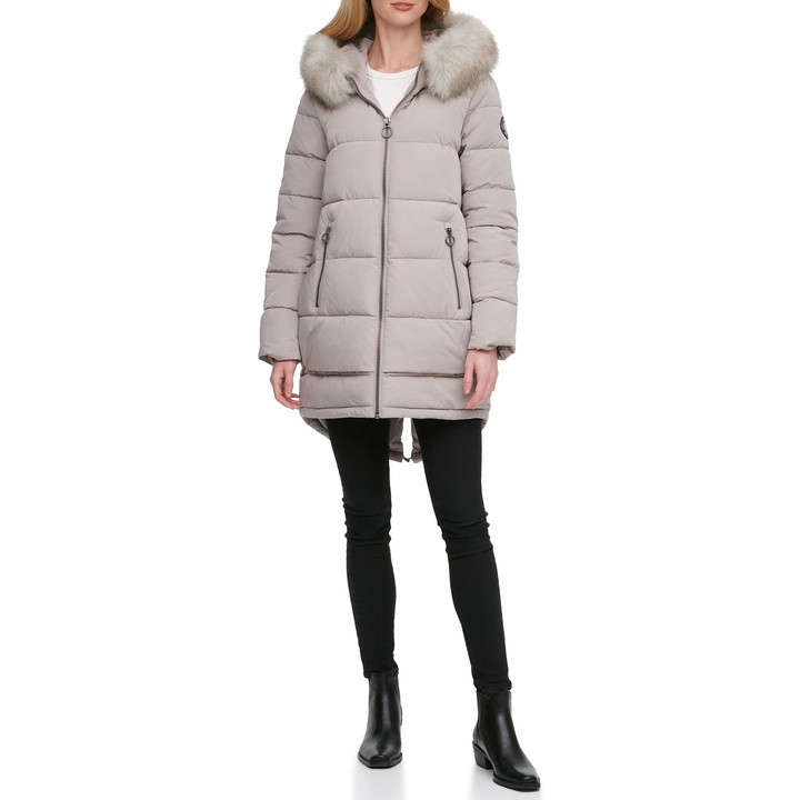 DKNY Women's Poly Puffer Down Alternative Coat
