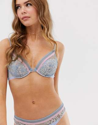 Vanity Fair Luxury padded triangle bra with floral pattern-Blue