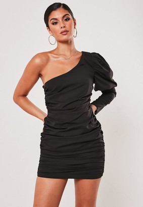 Missguided Black Puff Sleeve Ruched One Shoulder Mini Dress