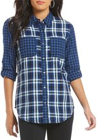 Intro Long Roll-Tab Sleeve Button Front Plaid Shirt