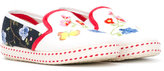 MonnaLisa floral embroidered ballerinas - kids - Leather/Canvas/rubber - 27