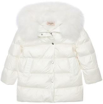 Yves Salomon Enfant Hooded Down Jacket W/ Fur Trim
