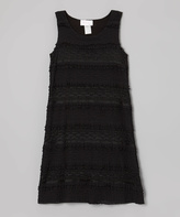 Dimples Black Antique Lace Shift Dress - Girls