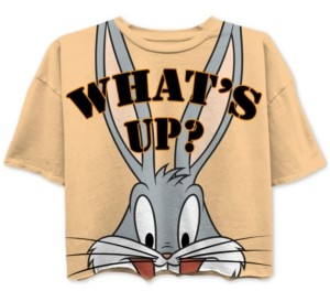 Warner Brothers Juniors' Bugs Bunny Cropped Graphic T-Shirt
