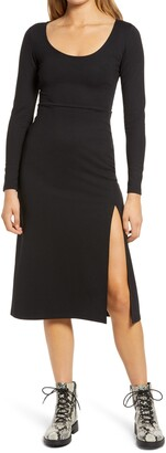 Leith Long Sleeve Side Slit Midi Dress