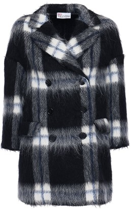 RED Valentino Double Breasted Check Wool Blend Coat