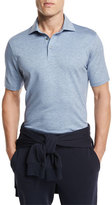 Ermenegildo Zegna Striped Jacquard Polo Shirt, Dark Blue