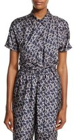 3.1 Phillip Lim Short-Sleeve Printed Silk Blouse, Phantom Blue