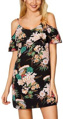 Wanshop Women Dresses Women Summer Floral Ruffles Dress Off Shoulder Mini Dress Beach Party Dresses Princess Dress (L