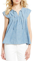 Levi's Rachel Split V-Neck Cap Sleeve Denim Blouse