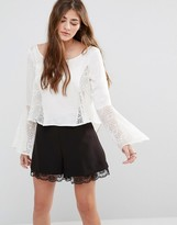 Band of Gypsies Lace Insert Bell Sleeve Top