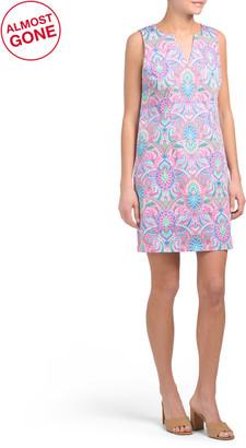 Sleeveless Printed V-neck Preppy Shift Dress