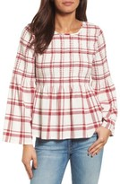 Petite Women's Caslon Plaid Smocked Peplum Top