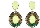 Other Designers Lacerta Earrings with Emerald Baquettes and Butter Opals