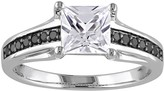 Sterling Silver Lab-Created White Sapphire & 1/8 Carat T.W. Black Diamond Ring